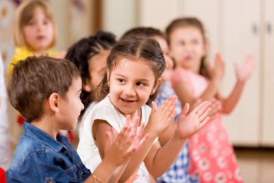 preschoolers playing in classroom